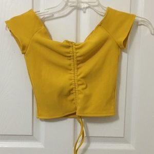 ⭐️2/$20 Zaful Yellow Off the Shoulder Crop Top